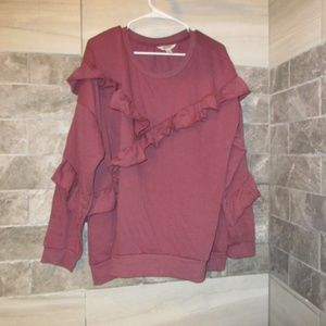 ARIZONA WOMENS PLUS RUFFLED SWEATSHIRT SZ 2XL